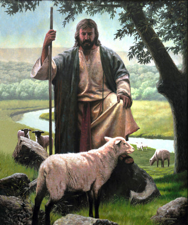 Jesus locating a lost lam with a river and other sheep in the back ground.