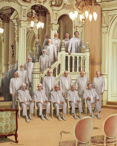 All the prophets from Joseph smith to Russell M Nelson dressed in white.