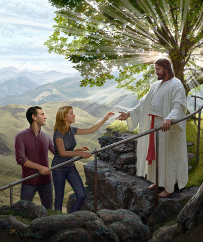 Jesus standing by the tree of life holding a railing welcoming a man and women.