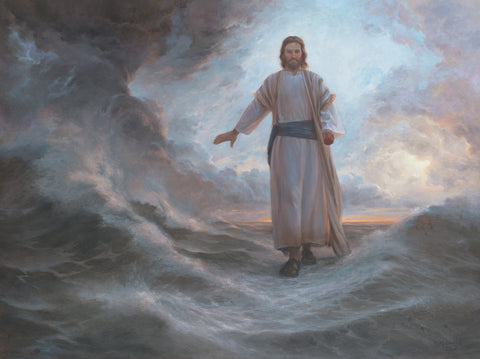 Jesus walking on the stormy sea, calming the waves as he passes.