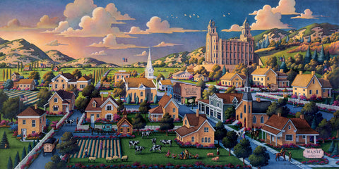 Painting of the Manti Utah City with the Manti Temple on a hill in the background.