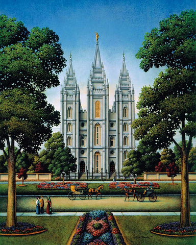 Colorful Painting of the Salt Lake Temple with horse drawn carriages going past.
