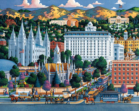 Historical Temple square featuring the Utah state Capitol, and the University of Utah.