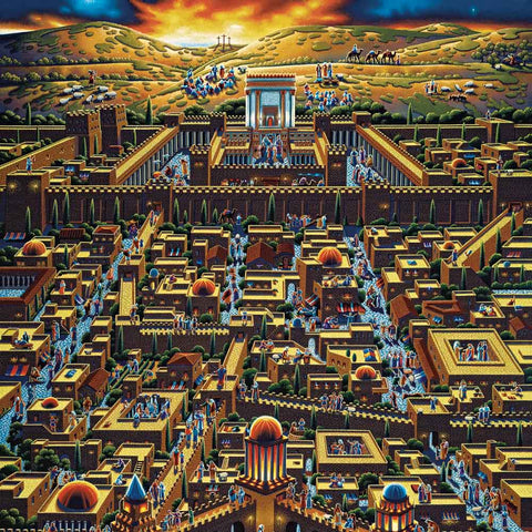 Colorful painting of the City of Jerusalem at sunset back in ancient times.