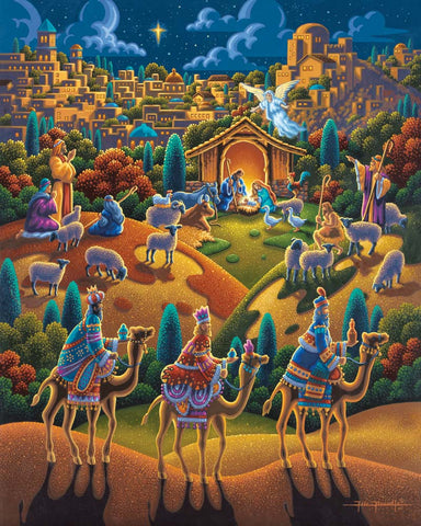 Colorful painting of three wise men on camels with the Nativity in the background.