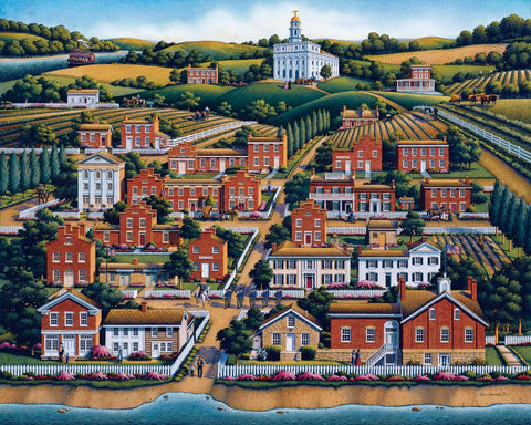 Historical Painting of old Nauvoo, with the Nauvoo temple on a hill.