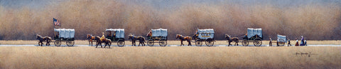 Painting of a train of covered wagon headed west across the plains.