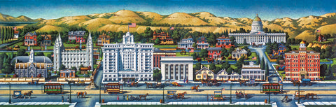 Painting of Salt Lake City in the 1920's including the Joseph Smith Memorial building.