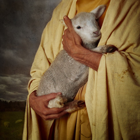 Jesus Christ holding his sheep.