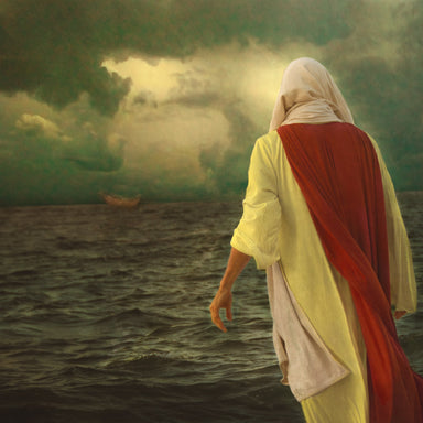 Jesus walking on the water toward the apostle's boat.