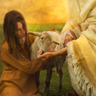 Picture of Jesus Christ and woman feeding a lamb.