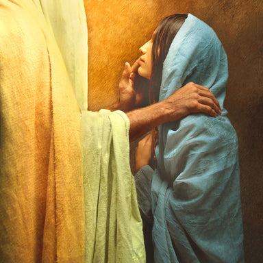 Picture of Jesus Christ comforting a woman.
