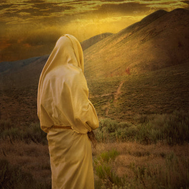 Jesus Christ facing the wilderness where He fasts for forty days.