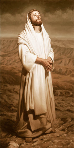 Sepia colored portrait of Christ standing with hands together looking up.