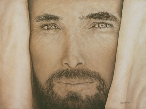 Painting of a close up of Jesus's face.