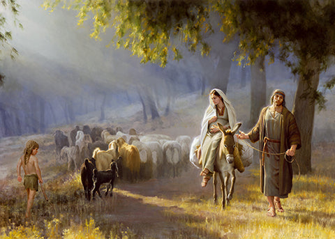 Joseph leading pregnant Mary on a donkey passing a heard of sheep.