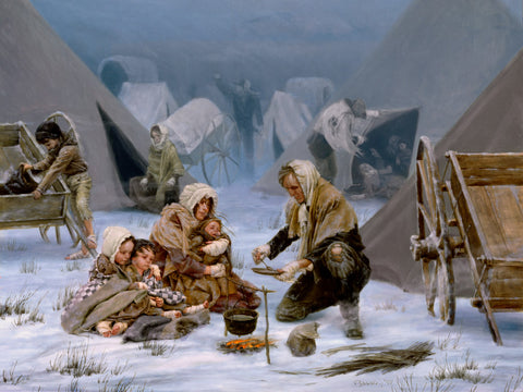 Marten Handcart company; family in blankets huddled around a fire.