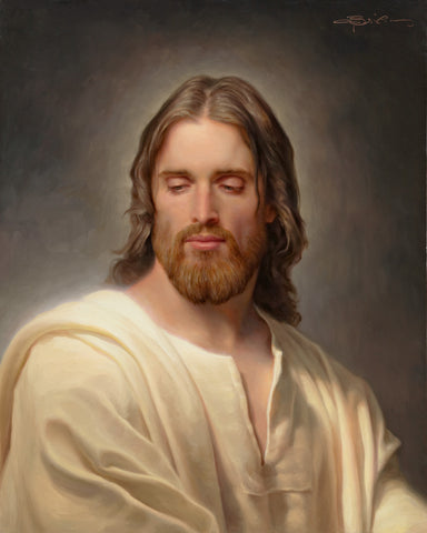 Portrait of Jesus in a white robe.