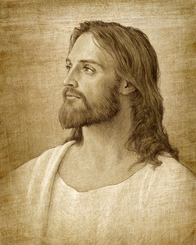 Sepia colored sketch of Jesus looking to the left.