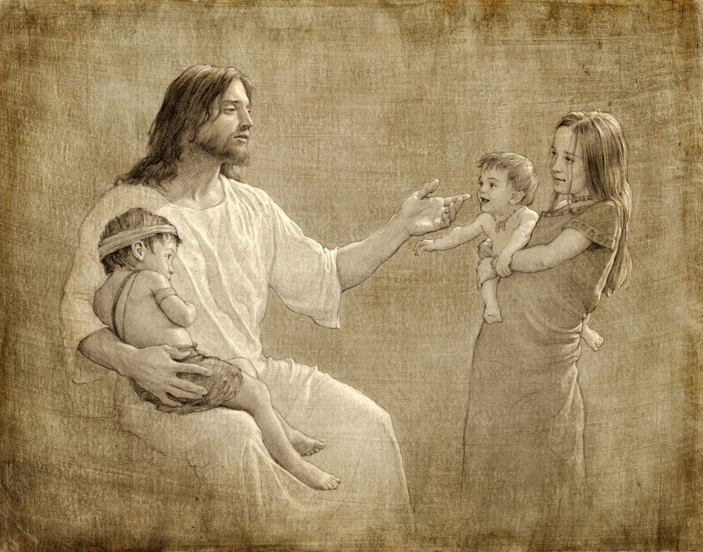 Sepia colored sketch of jesus with three children, one on his lap.