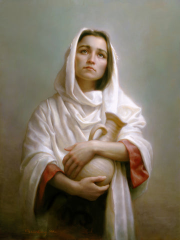 A women in a white shawl holding a pot looking up.