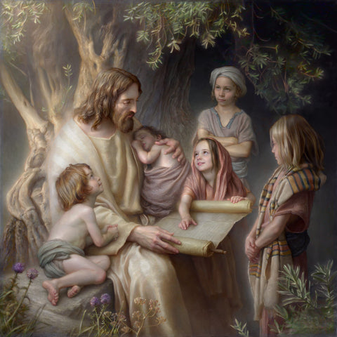 Jesus sitting reading a scroll surrounded by children.