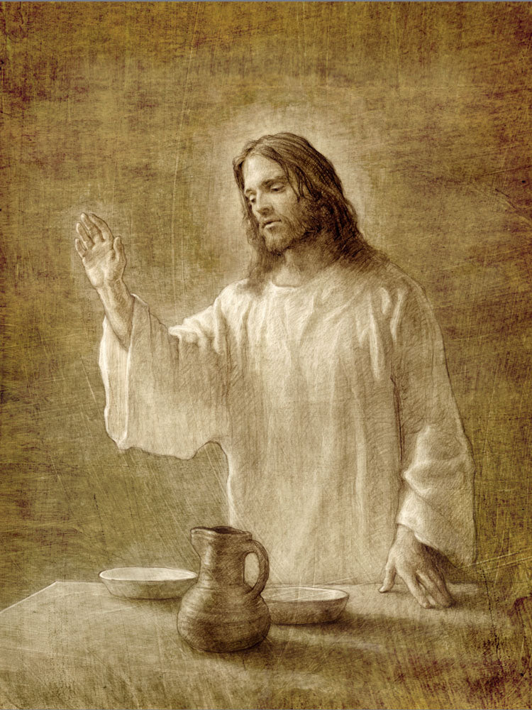 Sepia sketch of Jesus with his hand up next to a table with a pot.