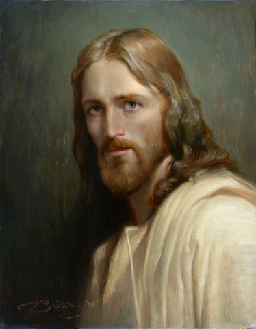 Portrait of Jesus Christ with green back ground.