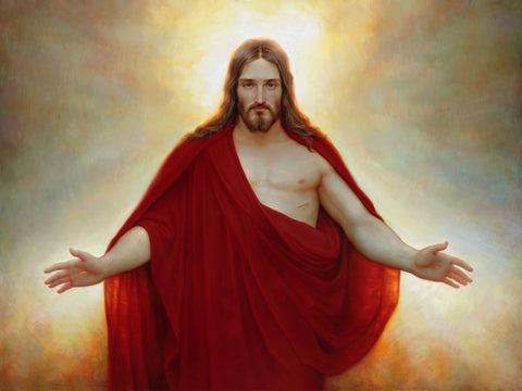 Jesus wearing a red robe with arms stretched out and light behind him.