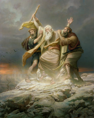Moses holding a staff falling as two men hold him up.