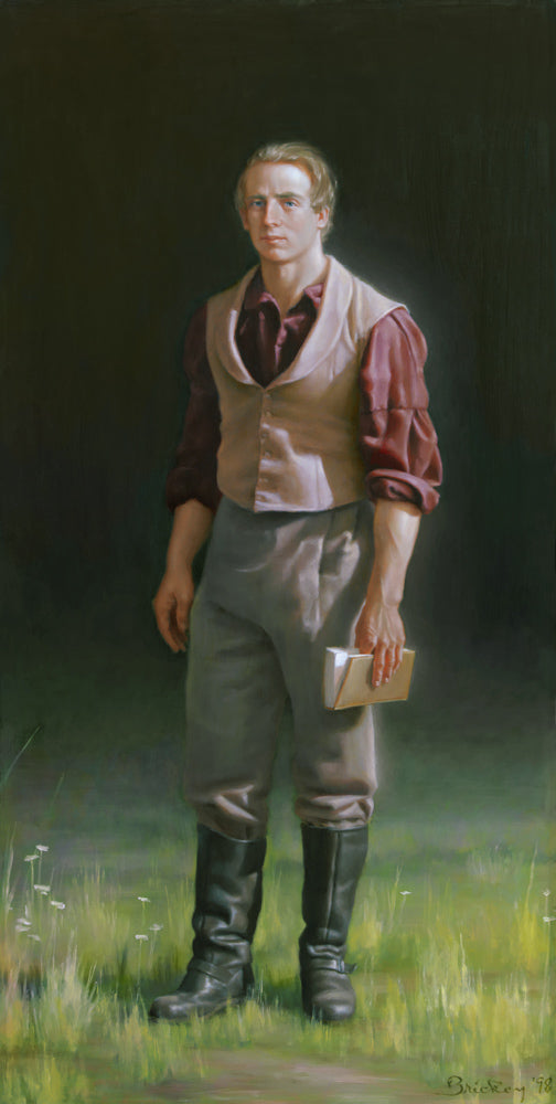 Joseph Smith standing in a field holding a book.
