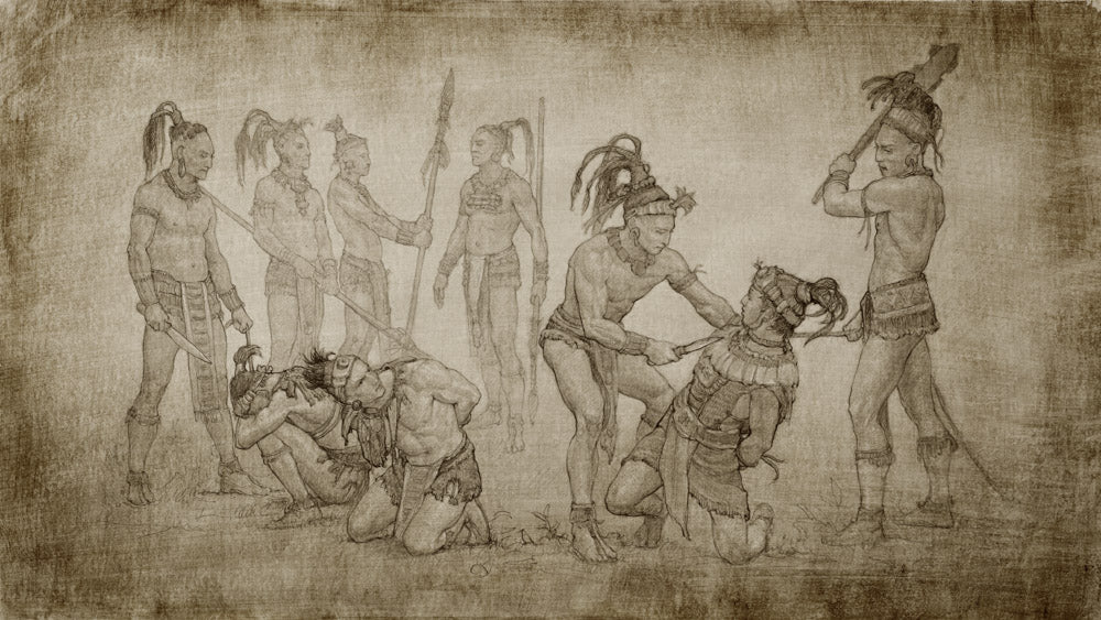 A sketch of a group of ancient warriors being captured by their enemy.