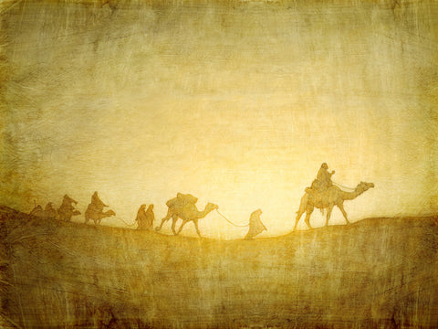 Lehi and his family riding camels across the desert with light behind them