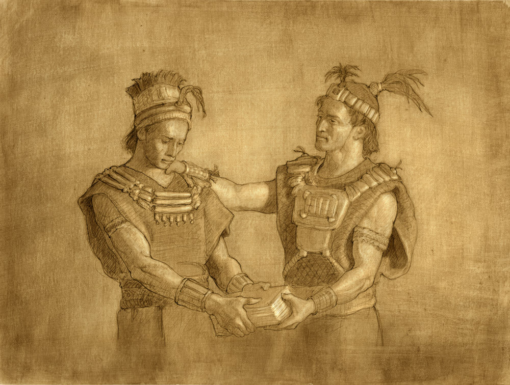 Two men dressed in ancient clothing. One handing a book to the other.