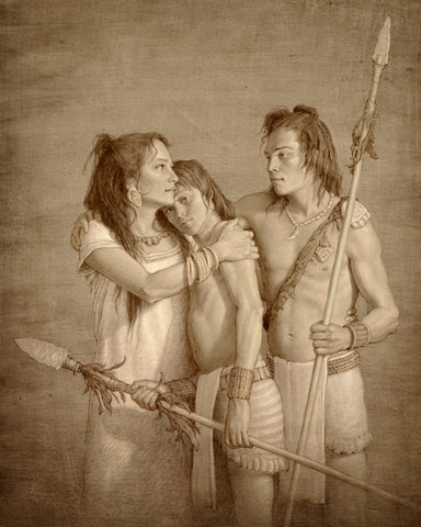 A mother comforting her two young warriors sons holding spears.
