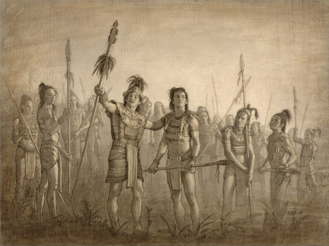 Sketch of a group of young warriors holding spears.
