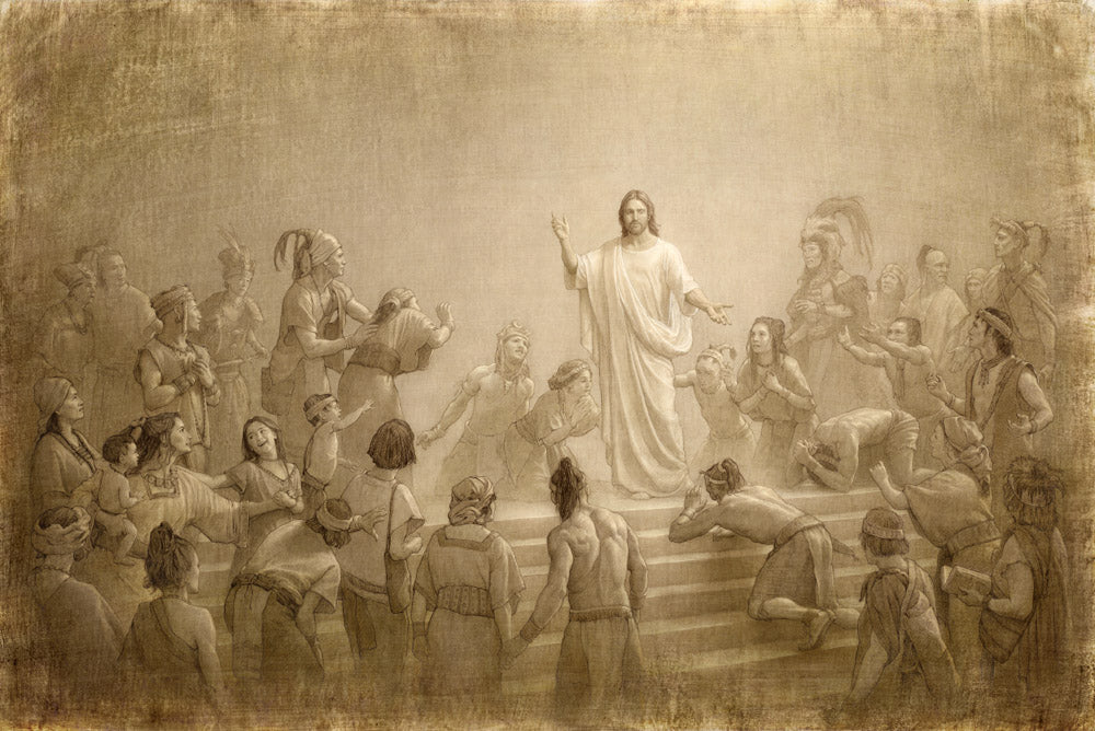 Sketch of Jesus in the Americas surrounded by people.