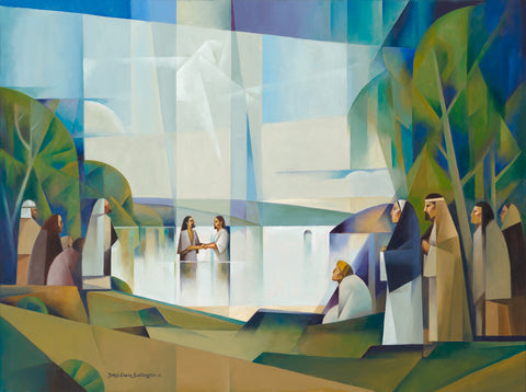 John the Baptist baptizing Jesus in the Jordan river.
