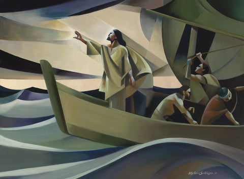 Christ calms the water threatening to overwhelm the boat.