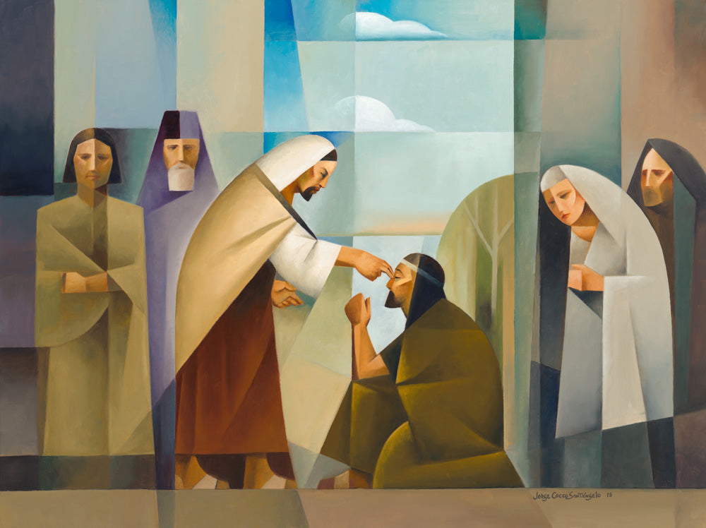 The blind man petitions Jesus to heal him and by his faith he is made whole.