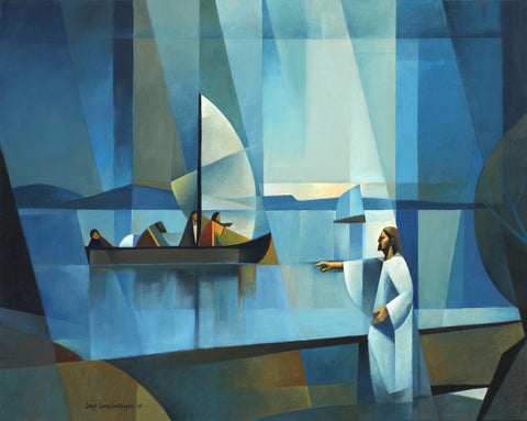 From the shore Jesus calls fishermen to become fishers of men.