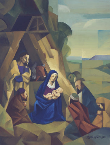 Kneeling Mary holds baby Jesus as Joseph looks on with Shepherds .