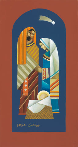 Vertical Nativity scene with Mary, Joseph, and babe in manger under star.