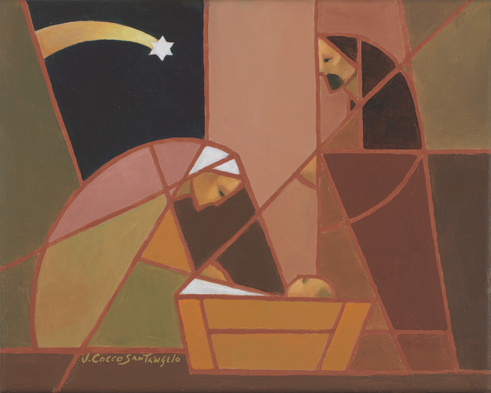 Mary kneeling by the manger under the star as Joseph stands; pink.