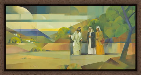 The Road to Emmaus 36x19 framed giclee canvas expresso frame