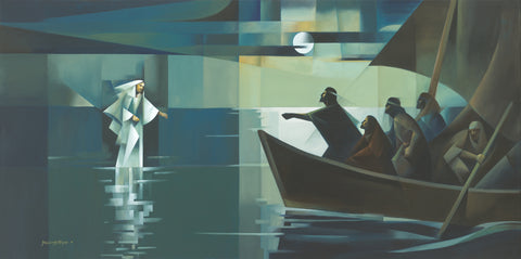 Jesus walking on water, approaches his disciples sailing in a boat.