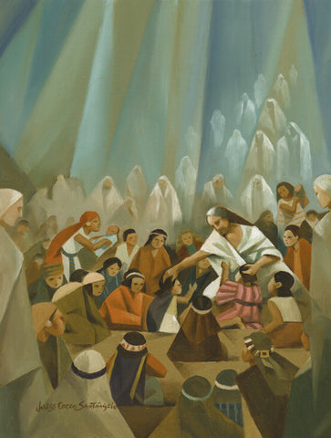 Heavenly angels look on as Christ is surrounded by children in the Americas.