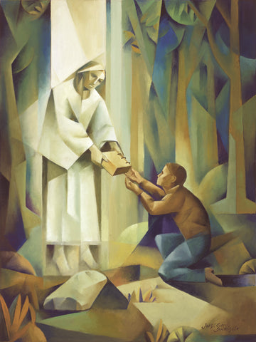The angel Moroni is handing the gold plates to the boy, Joseph.
