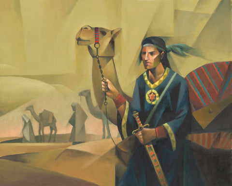 Nephi holding the reins of a camel, has the sword of Laban and brass plates.