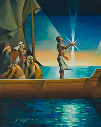 Bright colors: Nephi stands in a ship holding the glowing Liahona.